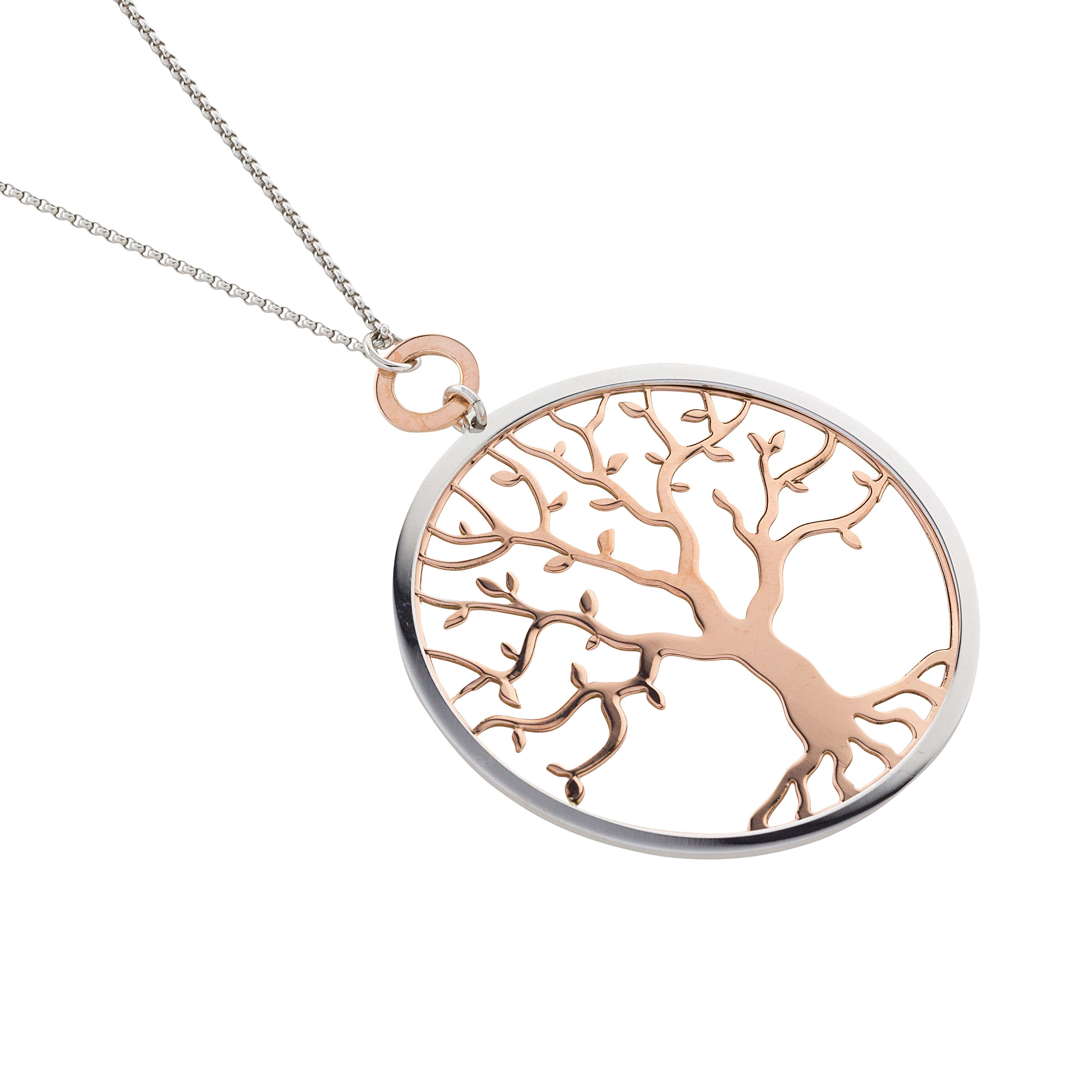 8a480ff643f7 Collar gargantilla plata arbol de la vida bicolor-Joyeria Vila