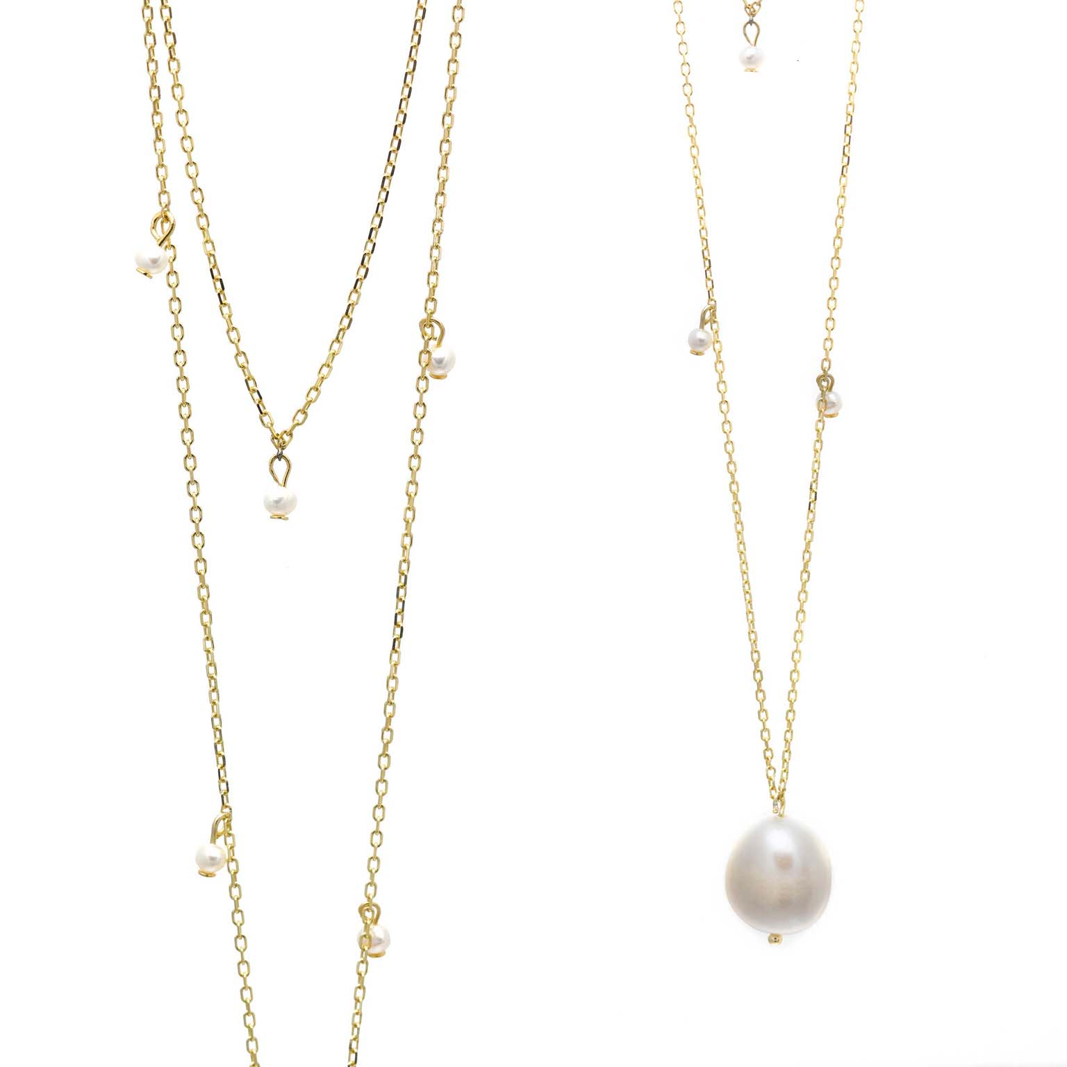 1216a266265a Collar Salvatore Plata doble cadena chapado oro perlas - Joyeria Vila