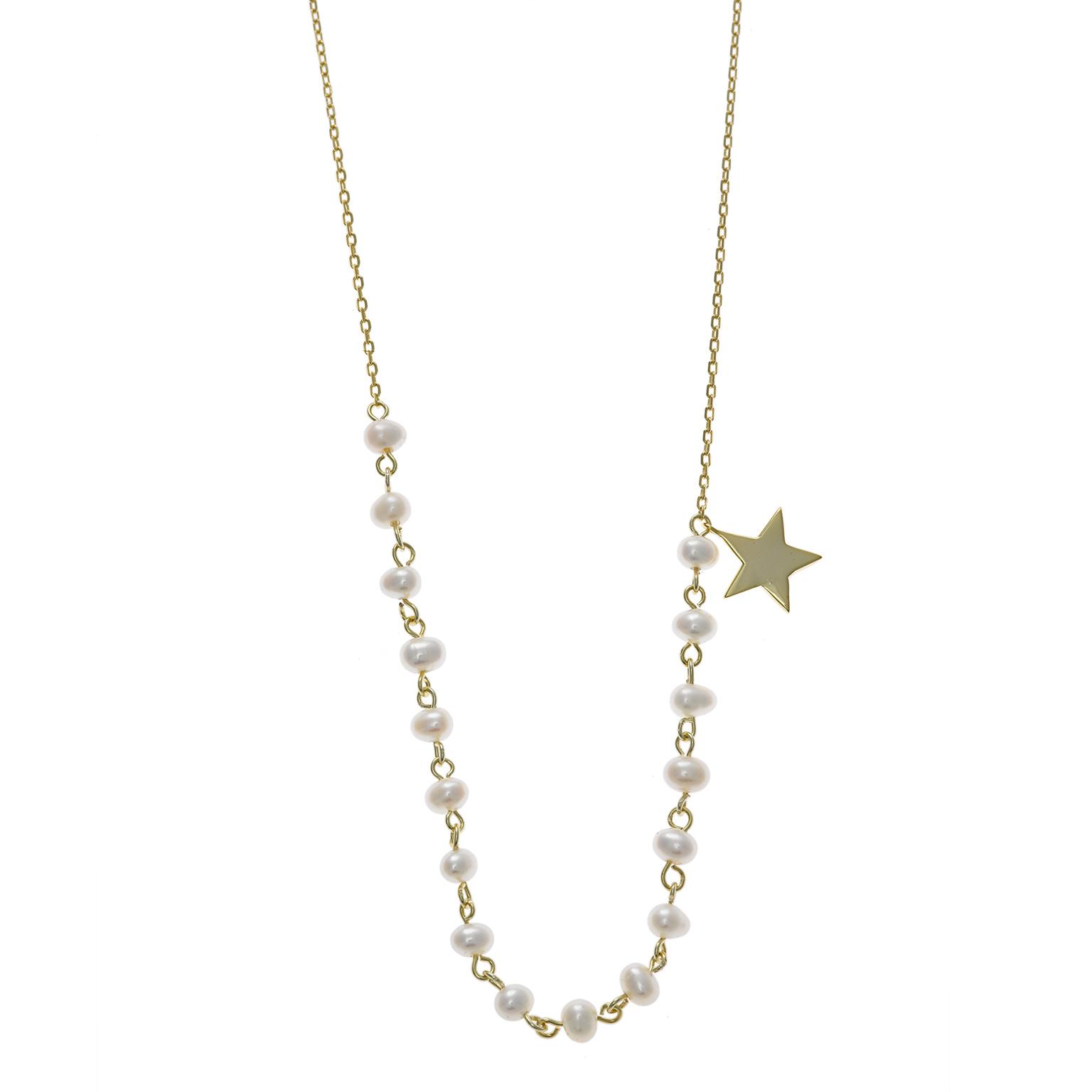 Gargantilla Salvatore Plata Chapado Oro Perlas Estrella