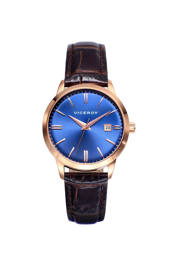 Reloj Viceroy mujer esfera azul correa marrón