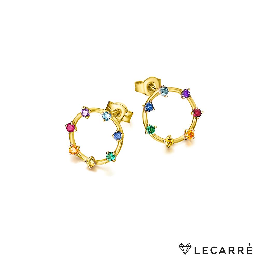 Pendientes Le Carré Oro Piedras Colores