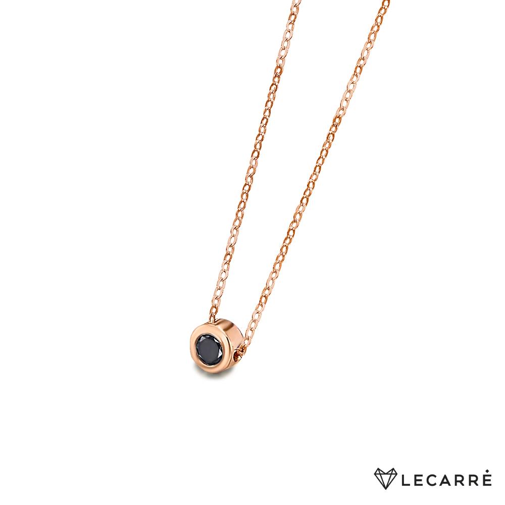 Gargantilla Le Carré Oro Rosa Diamante Negro