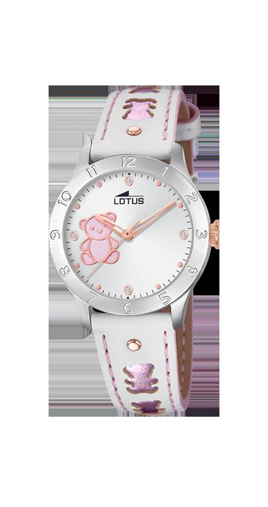 Reloj Lotus Niña  Osito Rosa Correa Piel