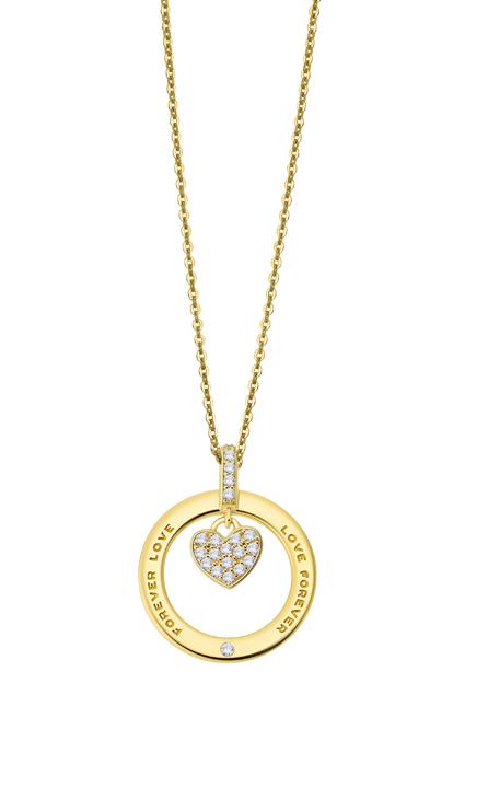 Gargantilla Lotus Silver Plata Chapada en Oro Círculo Corazón Circonitas