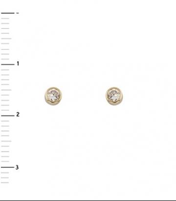 Pendientes oro con circonita 3mm