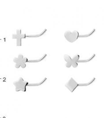 Piercing de nariz de oro blanco 18k. formas