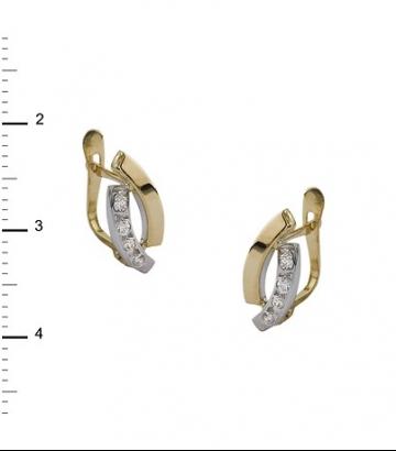 Pendientes oro bicolor circonitas