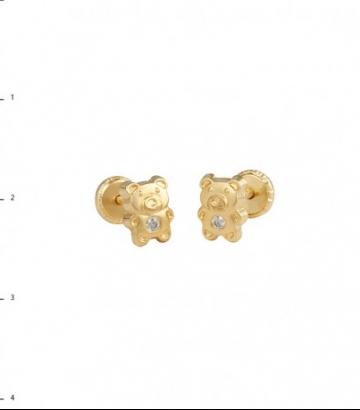 Pendientes oro osito circonita
