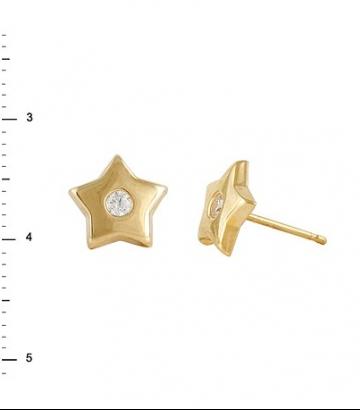 Pendientes oro estrella circonita