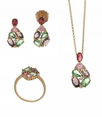 Juego pendientes sortija y collar plata  rosa piedras colores