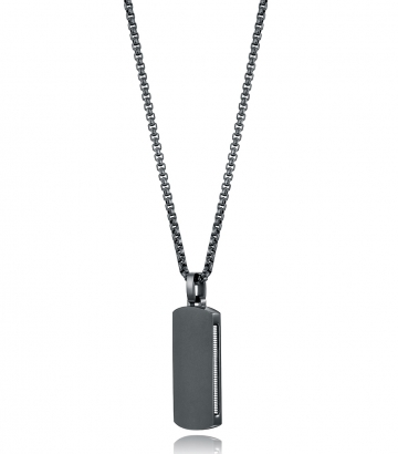 Collar Acero Ip Negro Mate Tipo Placa Sr Fn