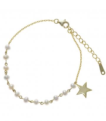 Pulsera Salvatore Plata Chapado Oro Perlas Estrella
