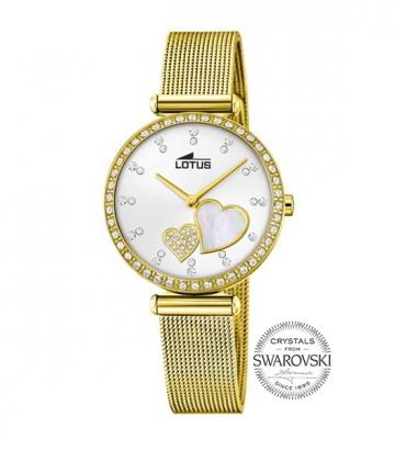 Reloj Lotus Bliss Corazones Chapado Oro