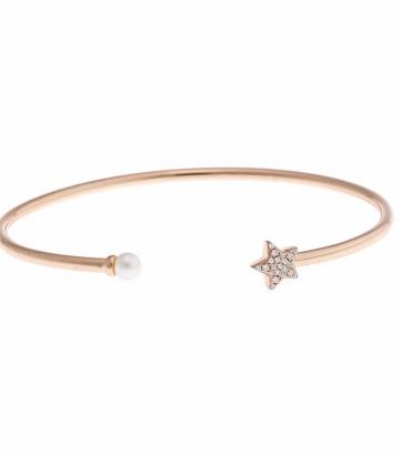 Pulsera Salvatore Plata oro rosa perla y estrella circonitas