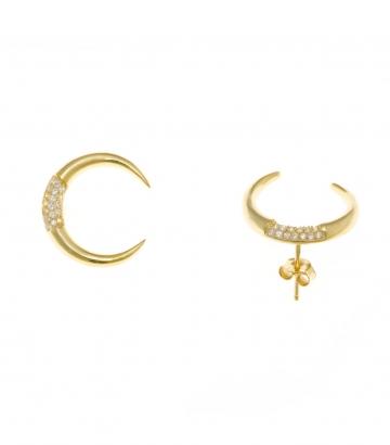 Pendientes plata dorada media luna circonitas