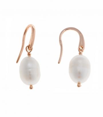 Pendientes Salvatore plata oro rosa perla gancho