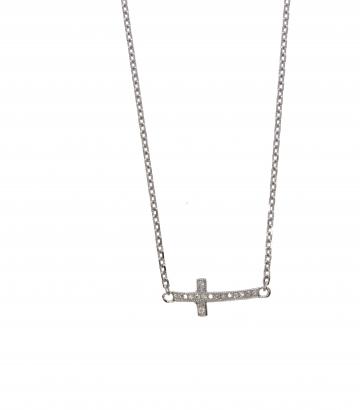 Gargantilla plata cruz circonitas