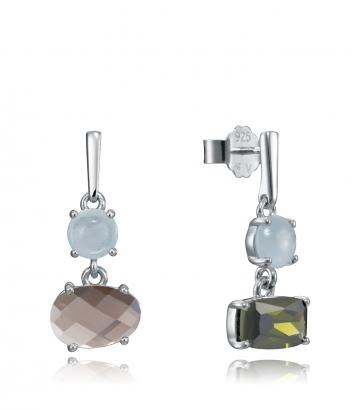 Pendientes Plata Asimetricos Cristal Sra Jwl