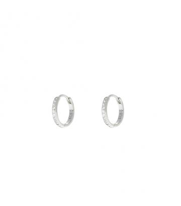 Pendientes Arito 12mm. Plata Circonitas