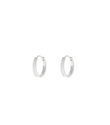 Pendientes Arito 14mm. Plata Circonitas