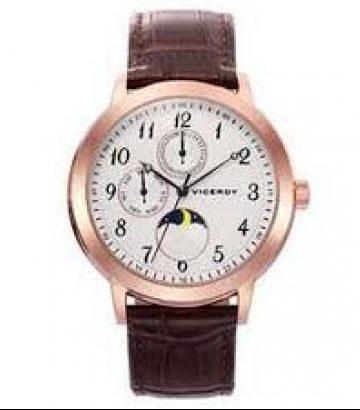 Reloj Viceroy Luxury multifunción acero ip rosa correa piel