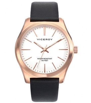 Reloj Viceroy acero ip rosa correa negra