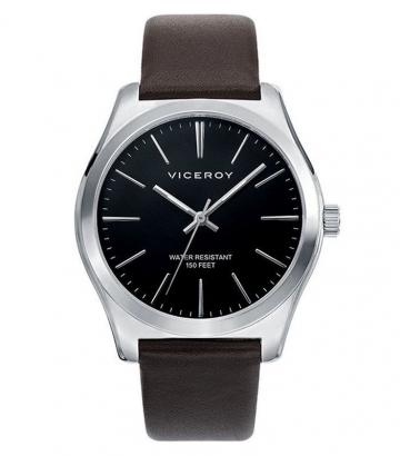 Reloj Viceroy caballero esfera negra y correa marrón