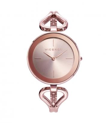 Reloj Acero Ip Rosa Brazalete Sra Va