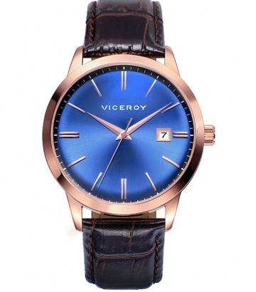 Reloj Viceroy de acero ip rosa correa piel
