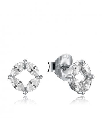 Pendientes Botón Plata Y Cristales Sra Jwls