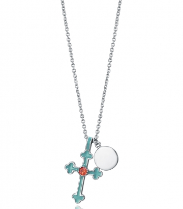 Collar Plata De Ley Cruz Esmalte Sra Jewels