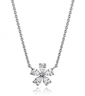 Collar Plata De Ley Flor Cristales Sra Jwls