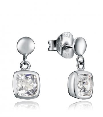 Pendientes Plata Cristal Cuadrado Sra Jwls