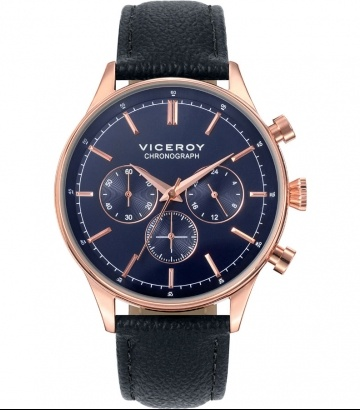 Reloj Viceroy acero cronógrafo esfera azul correa piel
