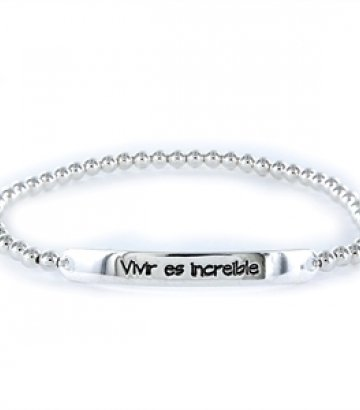 Pulsera Happy plata Vivir es increible