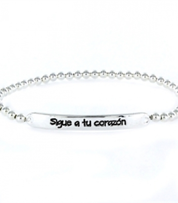 Pulsera Happy plata Sigue a tu corazón