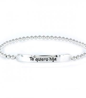 Pulsera Happy plata Te quiero hija