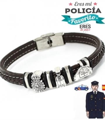 Pulsera Plata y Cuero Eres Mi Policía Favorito