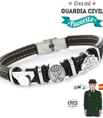 Pulsera Plata y Cuero Eres Mi Guardia Civil Favorito