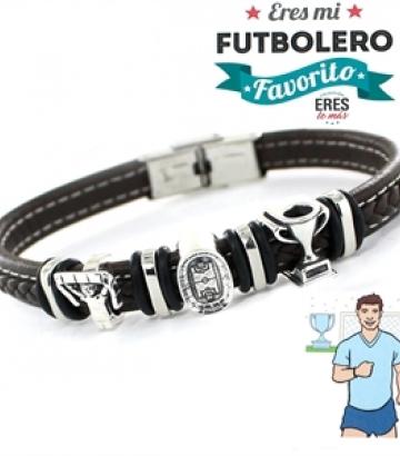 Pulsera Plata y Cuero Eres Mi Futbolero Favorito