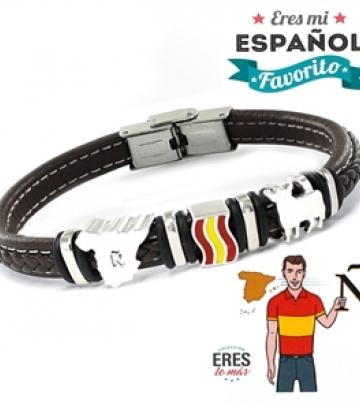 Pulsera Plata y Cuero Eres Mi Español Favorito