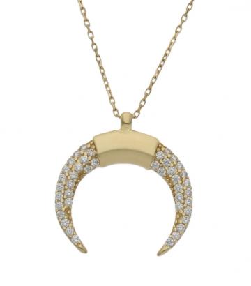 Gargantilla oro media luna invertida circonitas