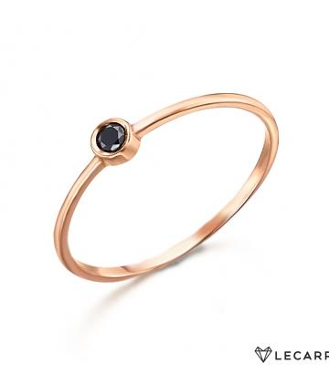 Sortija Le Carré Oro Rosa Diamante Negro