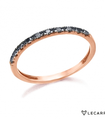 Sortija Le Carré Oro Rosa Diamantes Negros