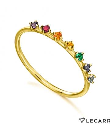 Sortija Le Carré Oro Piedras Colores