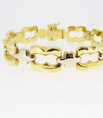 Pulsera oro con detalles de oro blanco