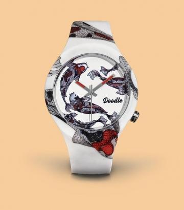 Reloj Doodle Koi Carp Red