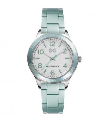 Reloj Acero Y Aluminio Turquesa Brazalete Sra Mm