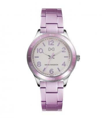 Reloj Acero Y Aluminio Violeta Brazalete Sra Mm
