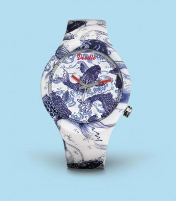 Reloj Doodle Koi Carp Blue